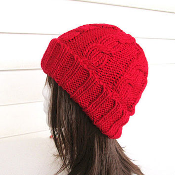 Chunky Knit Hat- Women's Hat -Red Cable Knit Hat - Chunky Knit- Watchman Hat.