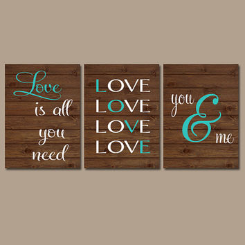 LOVE Wall Art Artwork Wood Grain Custom Colors Couples Wedding Gift Modern Set of 3 Prints Decor Bedroom Bathroom Nursery Dorm Three