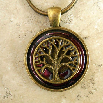 Tree of Life Keychain: Wine - Mens Keychain - Mens Keyring - Celtic Keychain - Tree Keychain - Fathers Day - Woman Keychain - Boyfriend Gift