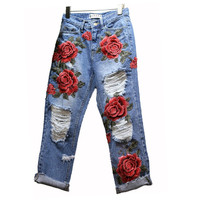 Hot Sale Women's Ripped Jeans Fashion Boyfriend Jeans For Woman Hole Denim pants Flowers Embroidery Jeans Free shipping C066