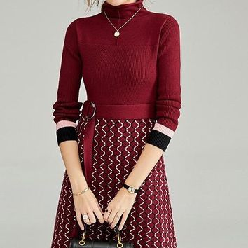 Knit Dress W/ Belt Detail