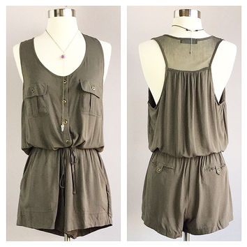 An Army Green Romper