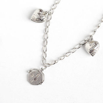 Vintage Sterling Silver I Love You Spinner Charm & Puffy Heart Bracelet - 1940s Symbolic Small Message Pendants Romantic Sweetheart Jewelry