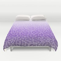 Ombre purple and white swirls zentangle Duvet Cover by Savousepate