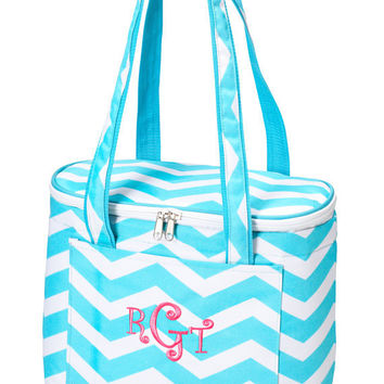 Insulated Cooler Tote Bag Monogrammed - Aqua Chevron Zig Zag Lunch Bag Picnic