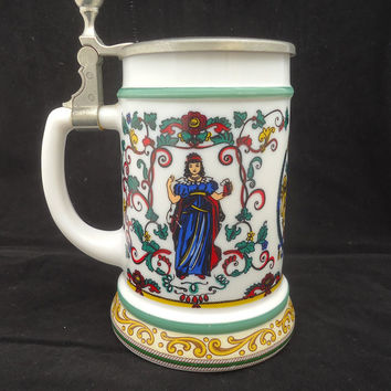 Vintage BMF Bierseidel German Beer Stein, Milk Glass German Beer Mug, Lidded German Beer Stein