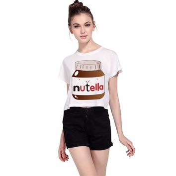 Plus Size Nutella Print Crop Top Summer Cotton Workout Sexy Hipster Street O-Neck White Female T-shirt Women Slim Tops LF1003
