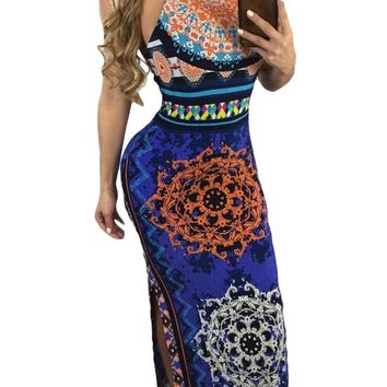 Chicloth Royal Blue African Pattern Low Back Halter Maxi Dress