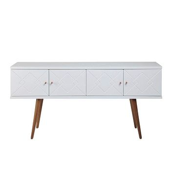 """Trinity 59.84"""" Mid- Century Modern Sideboard with Solid Wood Legs, White Gloss"""