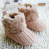Fur Boots Baby Toddler Shoes Baby Girl Warm Fur Winter Plush Boots 7 Colors Toddler Boots For Girl Winter