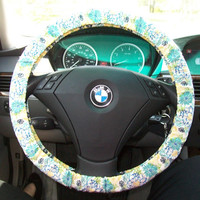 Blue Floral Steering Wheel Cover