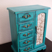 Beautiful Lake Blue Hand Painted Wooden Jewelry Box