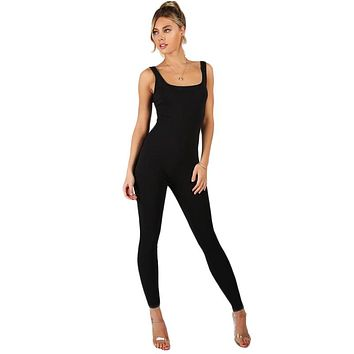 Black Bodycon Jumpsuit Women Sleeveless Brief Slim Basic Tank Jumpsuits Fashion Scoop Neck Skinny Jumpsuit
