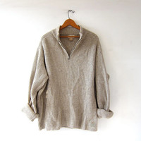 vintage oatmeal sweater. oversized slouchy pullover. cotton & wool sweater. boyfriend sweater.
