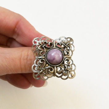 SALE 30 OFF Silver Metal Ring With Purple Stone, Vintage Victorian, Adjustable, Lavender, Lilac Color, Costume Jewelry