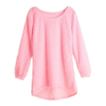 Autumn Winter Women Fluffy Knitted Sweater O-Neck Dip Hem Pull Femme Long Sleeve Ladies Loose Tricot Casual Warm Mohair Pullover