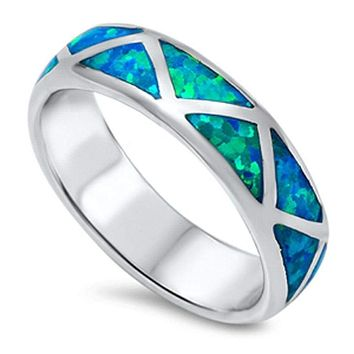 Mosaic Blue Lab Opal Smooth Inlay Sterling Silver Ring