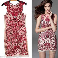 Runway Luxury dress women organza embroidery sleeveless Cocktail Party S-XL
