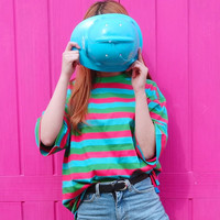 Vintage Candy Color Striped Oversize Cotton T-Shirt Top