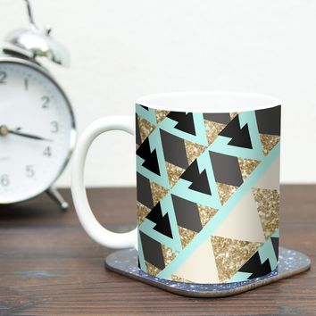 "Kess InHouse Nika Martinez ""Glitter Triangles in Gold and Teal"" Blue Brown Ceramic Coffee Mug, 11 oz, Multicolor"