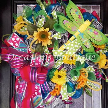 HUGE! Summer Wreath, Spring Wreath, Front door wreath, Wreath for door, Deco Mesh Wreath, Colorful Wreath, Ready to ship