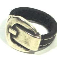buckle leather ring * belt buckle ring * chunky ring in leather handmade zamak ring * silver ring * unisex ring * vintage ring