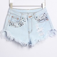 Street Style Hole Design Rivet Embellish Denim Shorts For Women