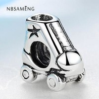 Free Shipping Silver Plated Bead Charm European Roller skates Beads Fit Women Pandora