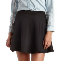Black Scuba Knit Skater Skirt by Charlotte Russe