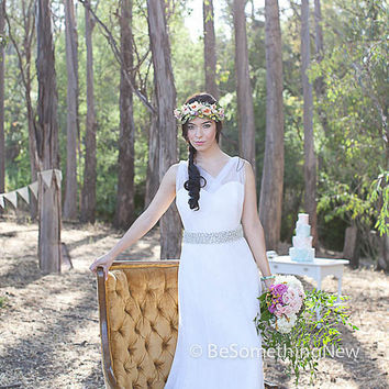 Wedding Hair Accessory,  floral crown in peaches and lavenders, woodland wedding