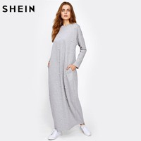 Pearl Beading Heather Knit Hijab Long Dress Grey Long Sleeve Maxi Dress Women Casual Loose Dresses