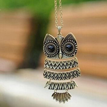Retro Big Eye Owl Necklace