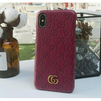 Gucci Fashion Cute Contracted Letter Pattern Leather iPhone Phone Cover Case For iphone 6 6s 6plus 6s-plus 7 7plus iphone X Wine Red