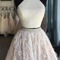 Two Piece Short Beaded Lace Prom Dresses Evening Dresses