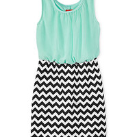 Ruby Rox Girls' Blouson Chevron Dress