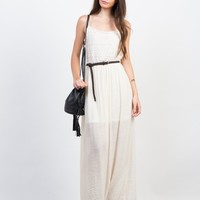 Crochet Contrast Maxi Dress