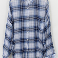 Blue Plaid Long Sleeve Blouse