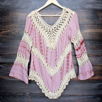 final sale - Boho crochet gauze tunic in muted mauve tie dye - azuki