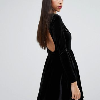 Boohoo Velvet Open Back Skater Dress