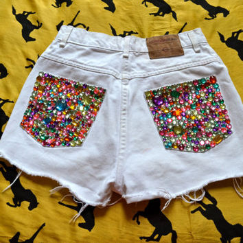 XS high waisted rave shorts, festival shorts, bedazzled booty shorts, embellished white denim, sparkle jean shorts