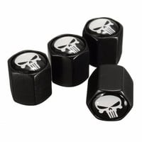 4X Black Car Auto Wheel Tyre Tire Stem Air Valve Caps Dust Covers Skull Punisher