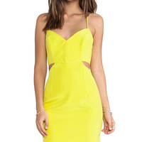 Naven Lux V Neck Cut Out Dress in Yellow