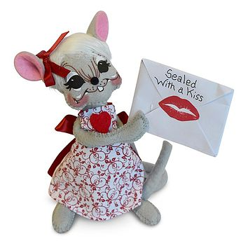 Annalee Dolls 6in 2018 Valentine Sealed with a Kiss Mouse Plush New with Tags