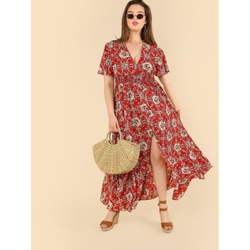 Plus Size  Red Button Up Flora Dress