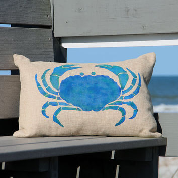 Blue Crab Pillow Hand Painted on a Faux Bulap Home Decor Fabric Coastal Accent Pillow Beach Decor Nautical Home Ocean Sea Life Pillow