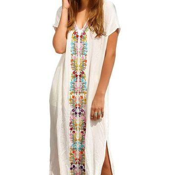 2016 Summer Women Floral Maxi Long Dress Bohemia Embroidered Print Side Split Beach Kaftan Sexy Cover Up Cotton Bikini Swimwear