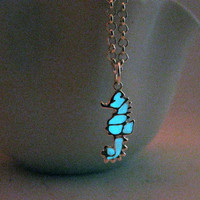 Glow in the Dark Tiny Seahorse Charm Necklace, 925 Sterling silverFinish, Turquoise Glow Unique Gift