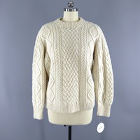 1960s Vintage Wool Fisherman's Sweater / Wells & Coverly / Deans of Scotland
