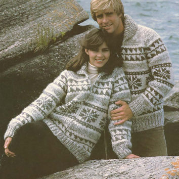 White Buffalo Pattern #6110.  Cowichan Salish style sweater, Wool cardigan, Adult, Native Canadian, hippy, West coast, stranded his and hers