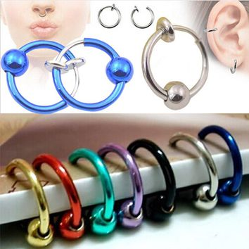 1pcs Unisex Colorful Fake Nose Ring Lip Ear Nose Stud Clip On Fake Piercing Hoop Rings Ear Tragus Earrings Ball Body Jewelry